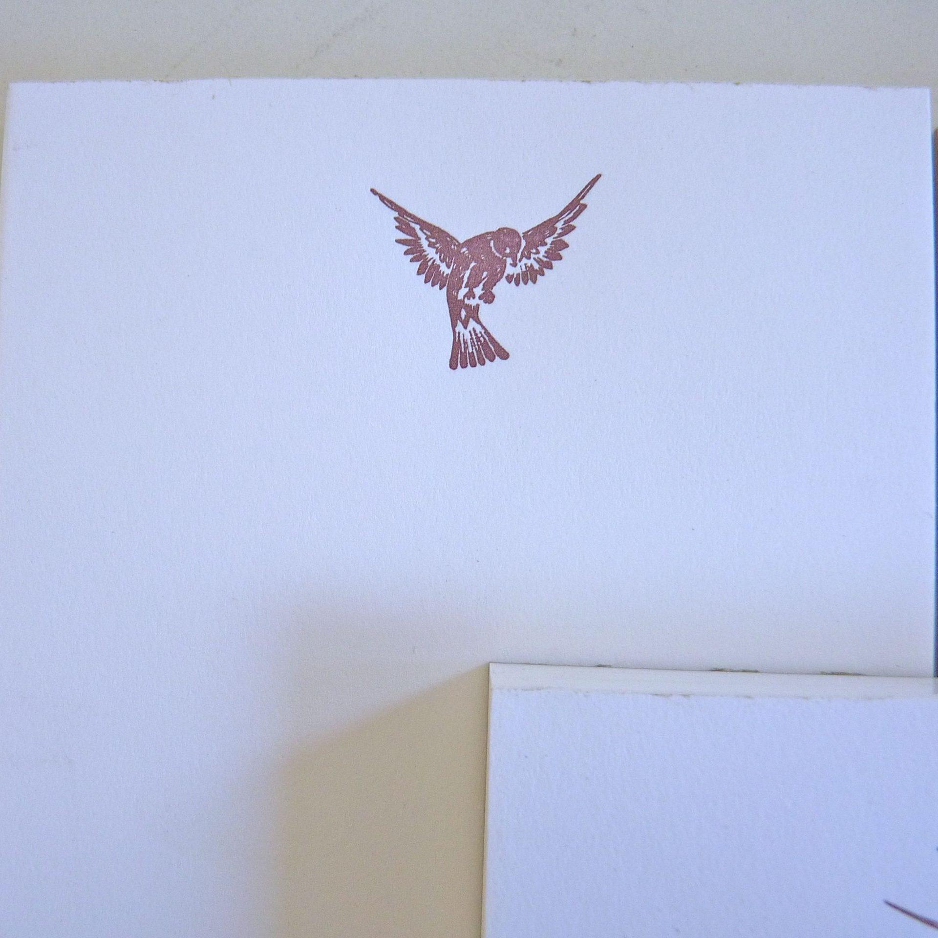 Notepad image of bird landing