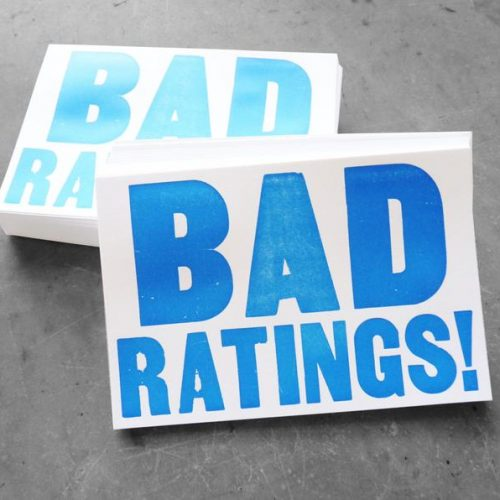 "White postcards letterpress printed with ""Bad Ratings!"""