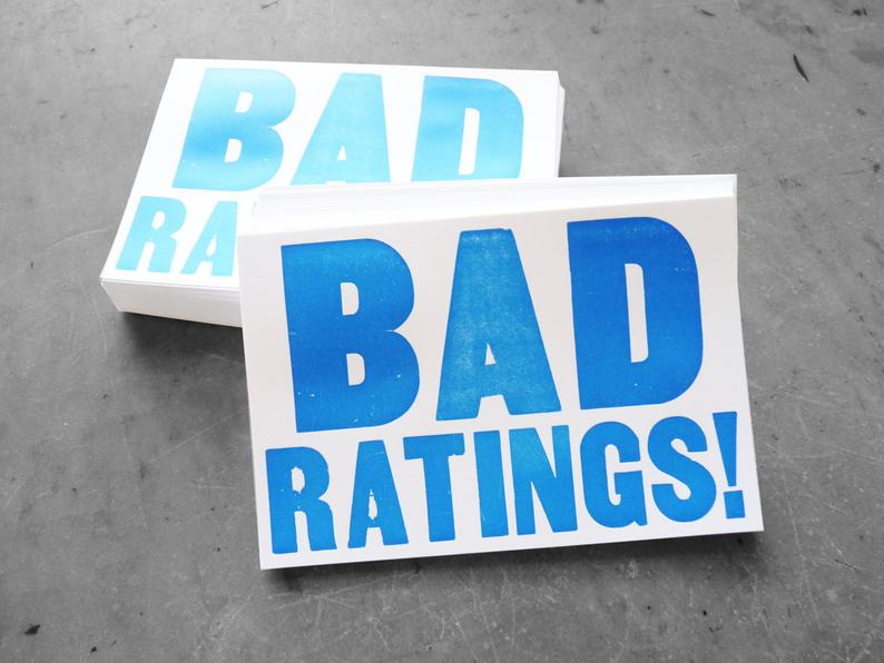 """White postcards letterpress printed with """"Bad Ratings!"""""""