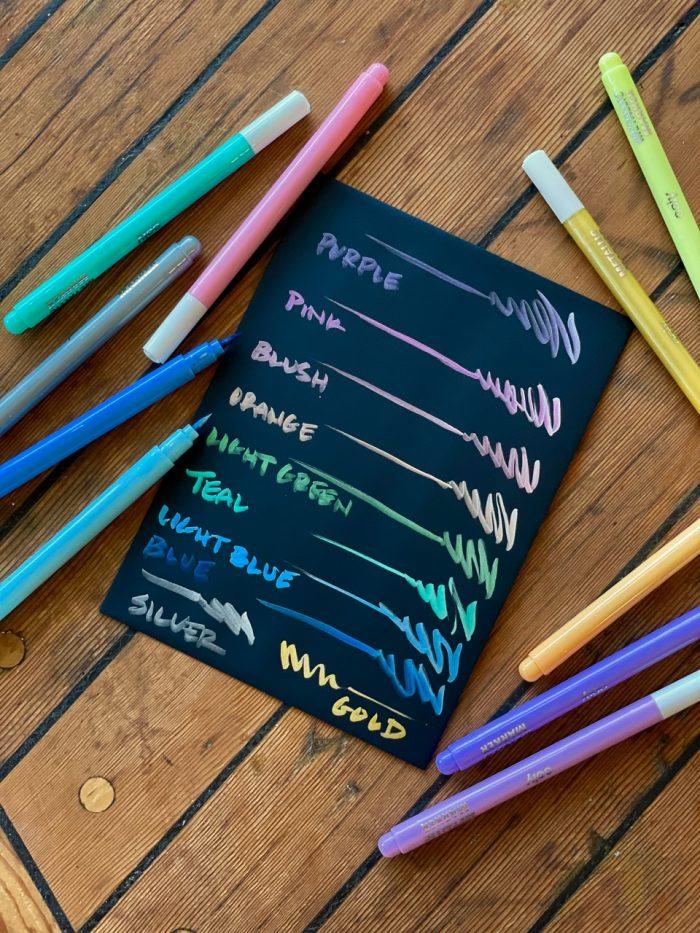 Color lustre brush tip metallic markers