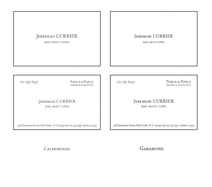 "A grid of four alternative layouts for the ""American Psycho"" letterpress business cards. There are two variations set in Garamond and two set in Californian, one reading simply ""Man About Town"" and one with additional contact information as in the original from the movie American Psycho."