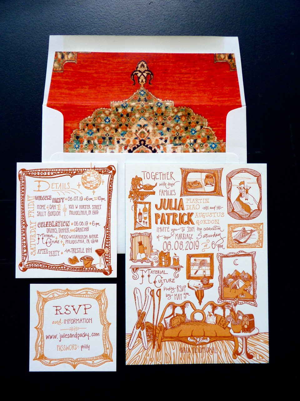A photograph of a unique illustrated wedding invitation with frames, keepsakes, and antiques in shades of orange and rust. Letterpress printed. Envelope liner made of wallpaper samples.