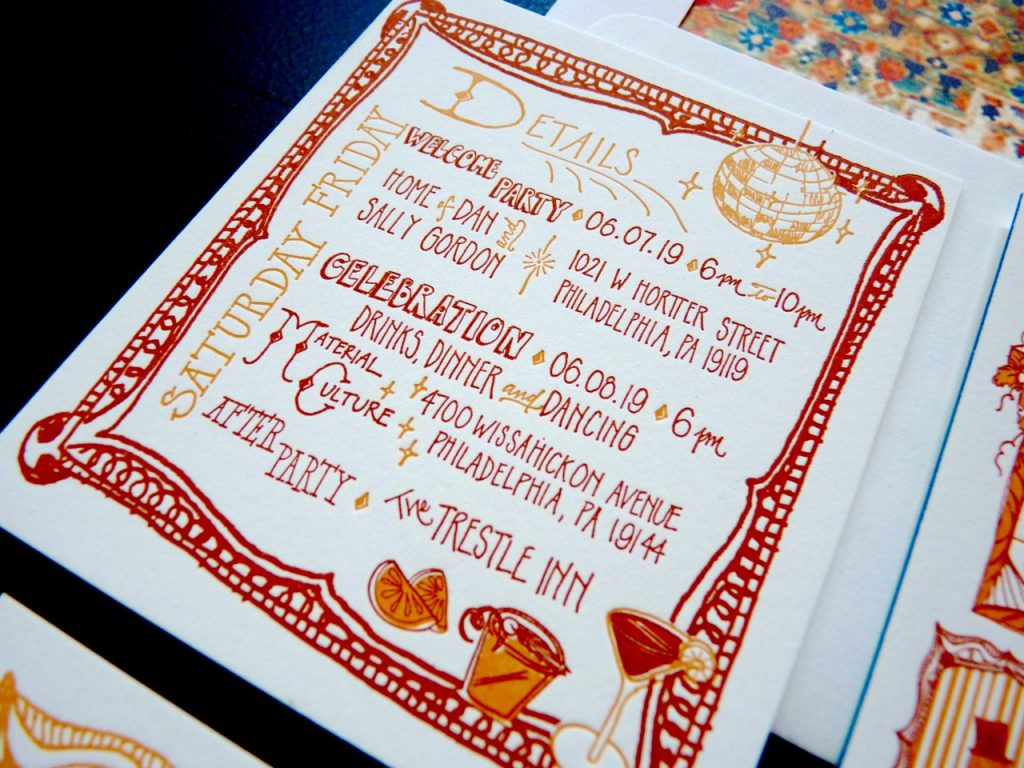 Letterpress printed details card in two colors with hand lettering and custom illustrations of disco ball and cocktails; frame border