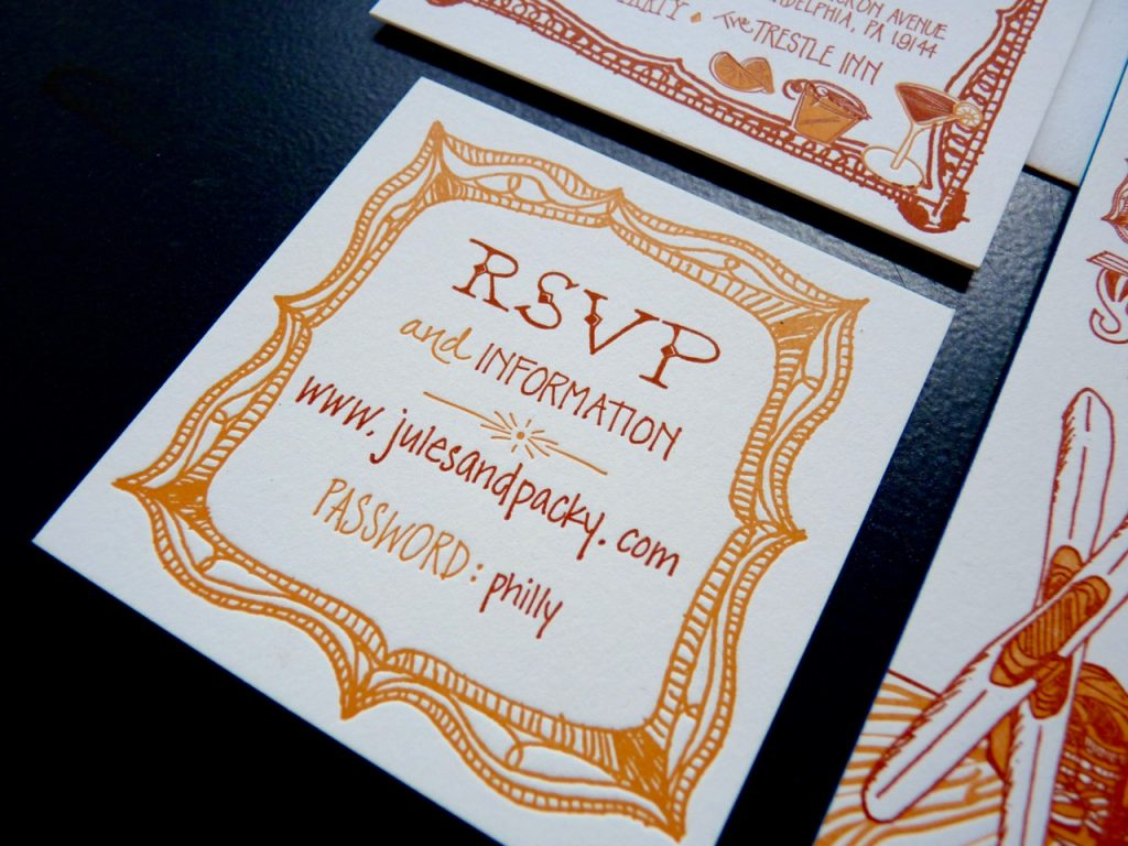 RSVP for letterpress wedding invitation in shades of rust and orange with hand-lettering and a custom illustration of an antique frame as a border