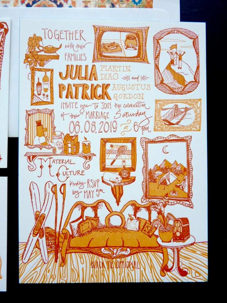 Unique letterpress wedding invitation printed in shades of rust and orange with incredible handlettering and custom illustrations depicting keepsakes, antiques, and other personal touches