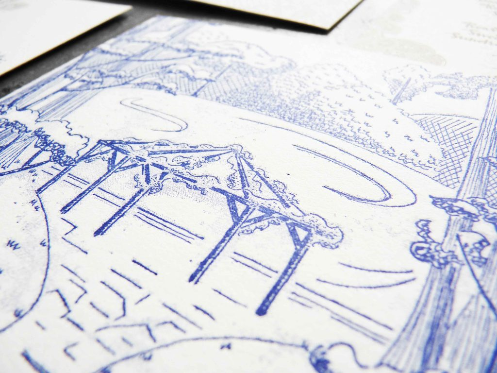 Close up view of a hand drawn illustration from an elaborate wedding invitation suite featuring a garden with a pagoda or chuppah