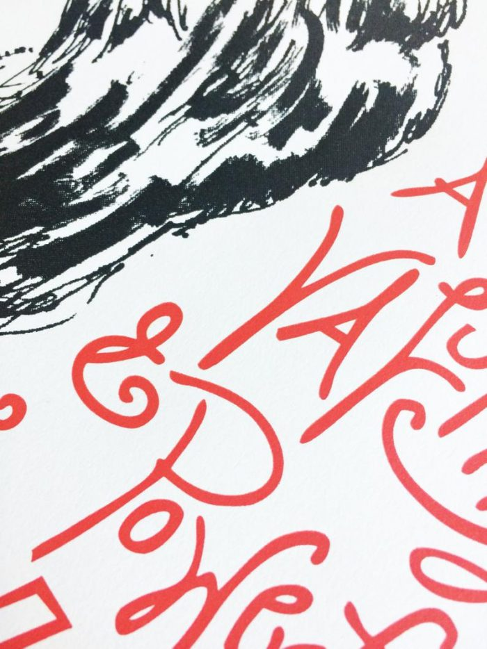 Closeup of Hillary Clinton poster letterpress printed in black and red inks on white paper