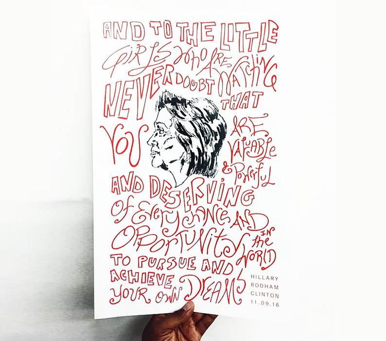 Hillary Clinton poster letterpress printed in black and red inks on white paper