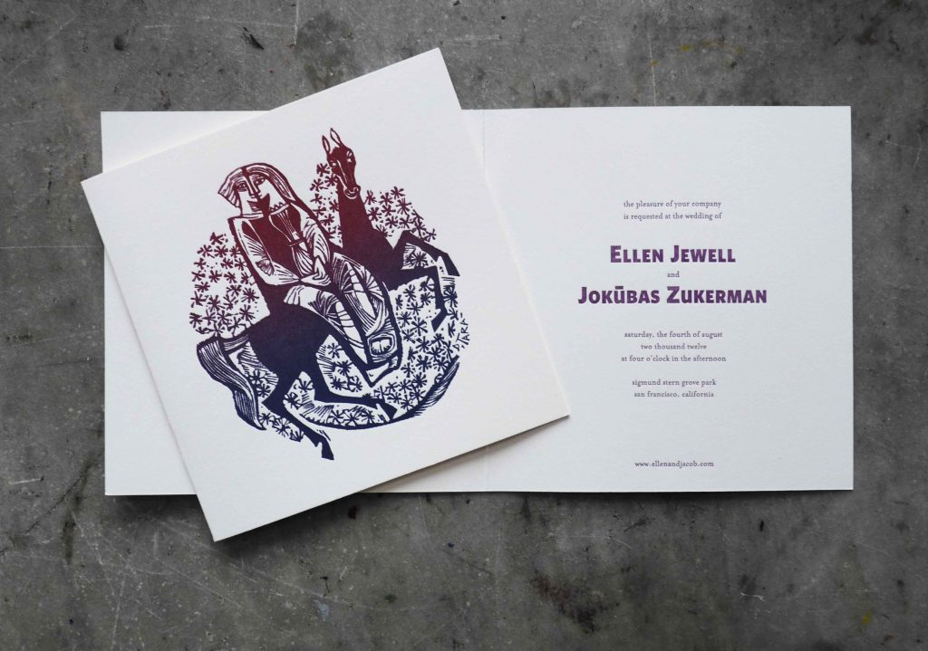 "A unique wedding invitation, folded square card featuring a medieval-style woodcut illustration of two lovers on a horse, with ombre ""rainbow roll"" colors from blue to purple to burgundy on the front, and classic hand set type on the inside; type is a combination of primitive block and a classic serif"