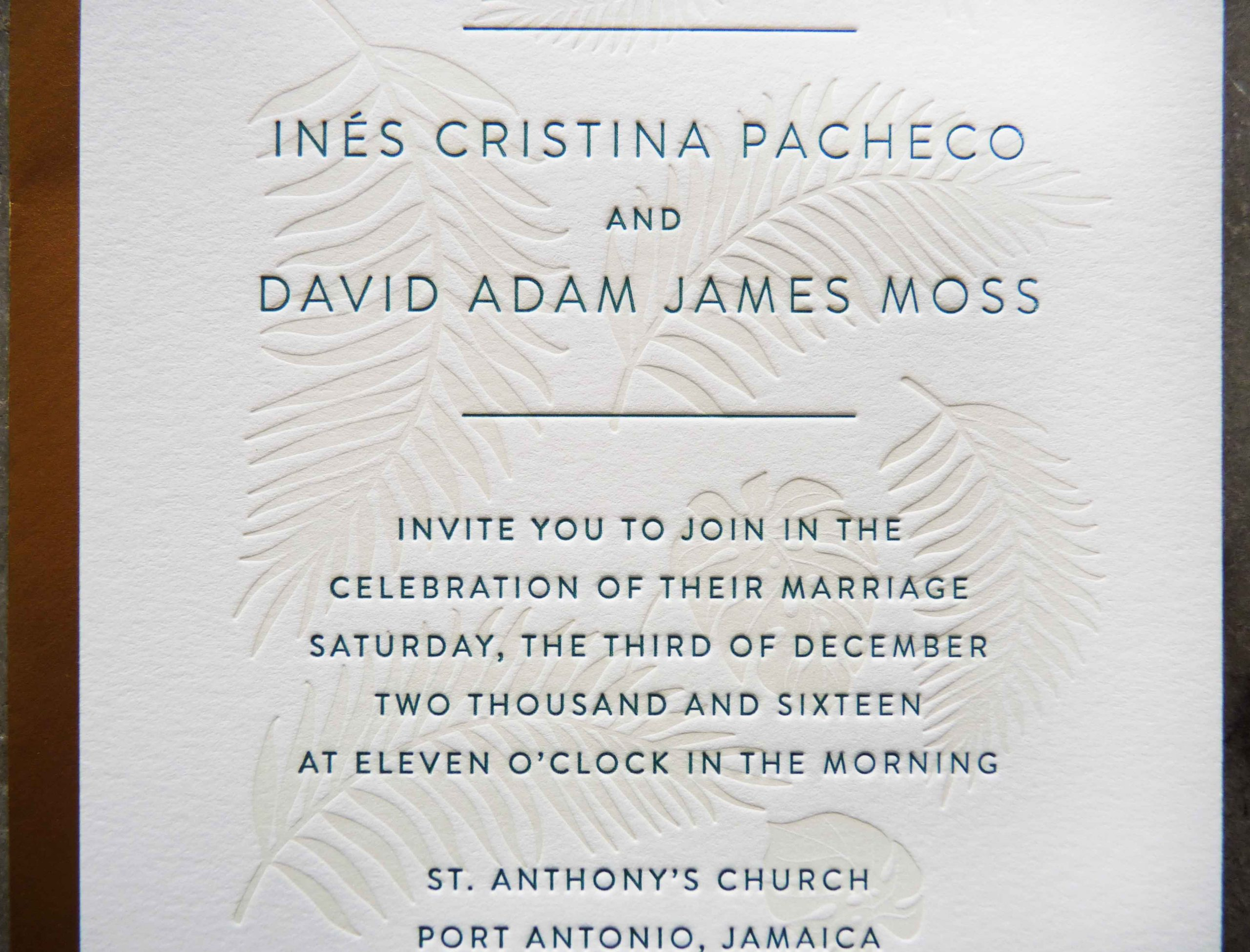 A wedding invitation with blind (no ink) deboss (embossing) and dark green lettering printed on soft, thick off-white cotton paper. Port Antonio, Jamaica