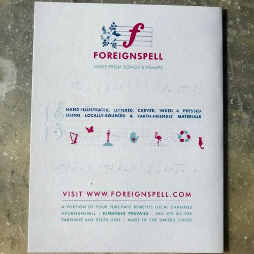 Back of greeting card with words about the designer, Foreignspell