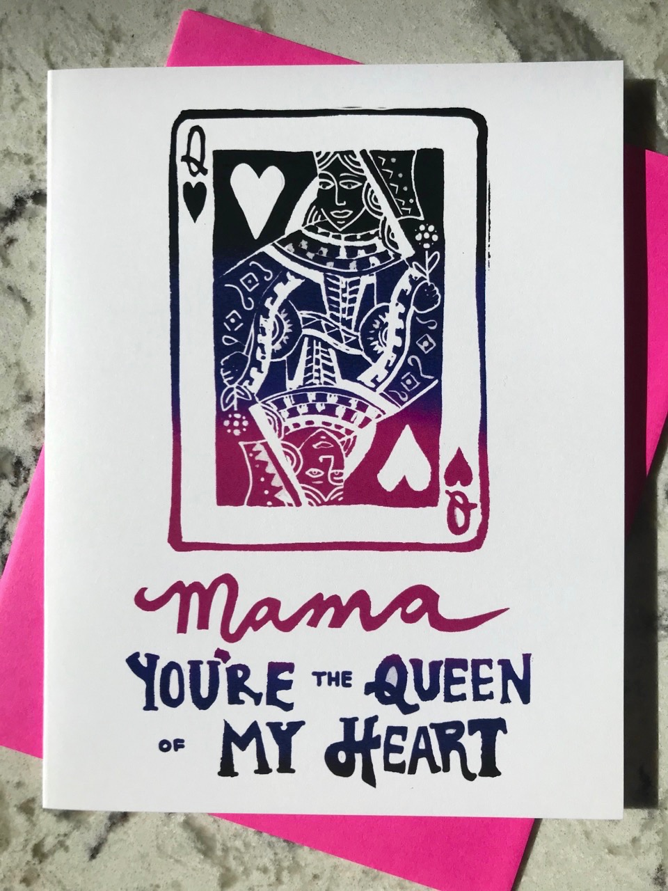"Black. purple, and pink ombre illustration of the queen of hearts playing card and hand-lettering that reads ""Mama you're the queen of my heart""."