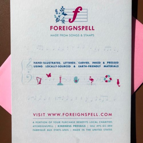 Back of greeting with Foreignspell's shpeel about the use of song lyrics and hand-drawn designs