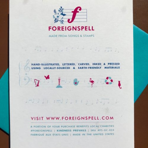 Back of they say it's your birthday greeting card giving more info about Foreignspell, the design studio