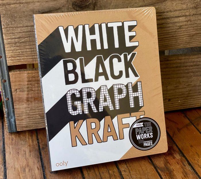 White black graph kraft notebook