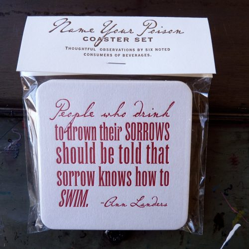 Set of alcohol quotes coasters in compostable packaging